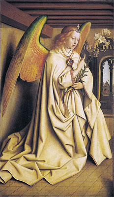 The Angel Gabriel passes the Message to Maria (The Ghent Altarpiece), 1432 | Jan van Eyck | Painting Reproduction