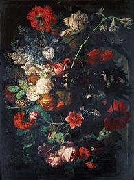 Jan van Huysum | Vase with Flowers on a Socle, undated | Giclée Canvas Print