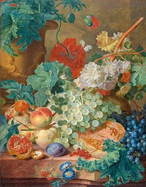 Still Life with Flowers and Fruits, 1749 by Jan van Huysum | Giclée Canvas Print