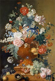 Flowers in a Terracotta Vase, undated by Jan van Huysum | Giclée Canvas Print