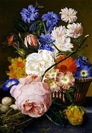 Roses, Morning Glory, Narcissi, Aster and Other Flowers in a Basket, 1744 by Jan van Huysum | Giclée Canvas Print