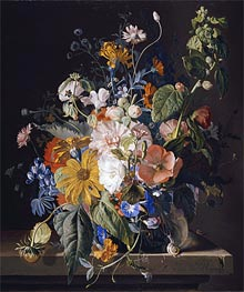 Flowers in a Vase with a Snail on a Ledge, undated by Jan van Huysum | Giclée Canvas Print