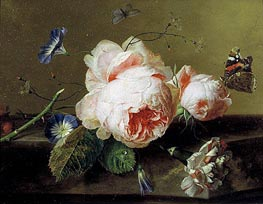 Jan van Huysum | Still Life with Flowers and Butterfly, c.1735 | Giclée Canvas Print