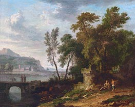 Jan van Huysum | Landscape with Figures, Ruins and Bridge | Giclée Canvas Print