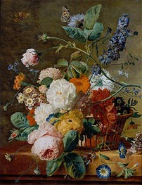 Jan van Huysum | Basket of Flowers with Butterflies | Giclée Canvas Print