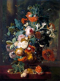 Jan van Huysum | Vase of Flowers in a Park with Statue | Giclée Canvas Print