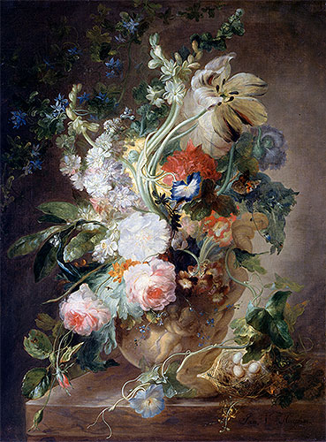 Vase with Flowers, undated | Jan van Huysum | Painting Reproduction