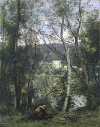 A Woman Gathering Faggots at Ville-d'Avray, c.1871/74 by Corot | Giclée Canvas Print