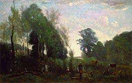 Misty Morning, c.1865 by Corot | Giclée Canvas Print