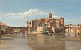 The Island and Bridge of San Bartolomeo, Rome, c.1825/28 by Corot   Giclée Canvas Print