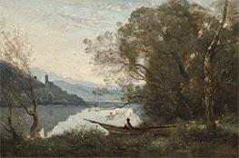 The Moored Boatman: Souvenir of an Italian Lake, 1861 by Corot   Giclée Canvas Print