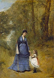 Madame Stumpf and Her Daughter, 1872 by Corot | Giclée Canvas Print