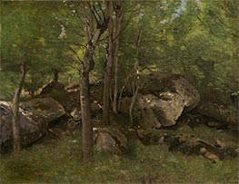 Rocks in the Forest of Fontainebleau, c.1860/65 by Corot | Giclée Canvas Print