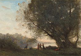 Dance under the Trees at the Edge of the Lake, c.1865/70 by Corot | Giclée Canvas Print