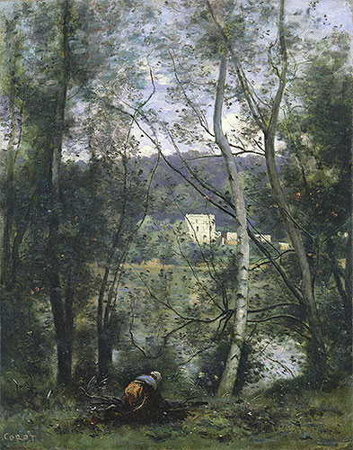 A Woman Gathering Faggots at Ville-d'Avray, c.1871/74 | Corot | Painting Reproduction