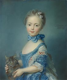 A Girl with a Kitten, 1743 by Jean-Baptiste Perronneau | Giclée Canvas Print