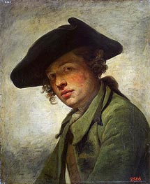 Jean-Baptiste Greuze | A Young Man in a Hat, c.1750 | Giclée Canvas Print