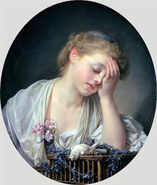 Jean-Baptiste Greuze | Girl Weeping over her Dead Canary | Giclée Canvas Print