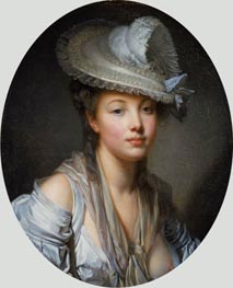 Jean-Baptiste Greuze | Young Woman in a White Hat | Giclée Canvas Print