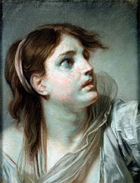 Jean-Baptiste Greuze | Head of a Young Girl | Giclée Canvas Print