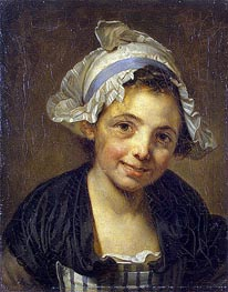Jean-Baptiste Greuze | Head of a Young Girl in a Bonnet, c.1760/68 | Giclée Canvas Print