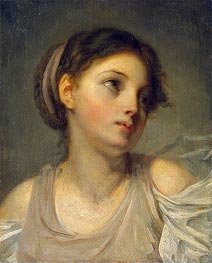 Jean-Baptiste Greuze | Young Girl in a Lilac Tunic, c.1770/90 | Giclée Canvas Print
