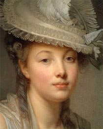 Jean-Baptiste Greuze | Young Woman in a White Hat (Detail) | Giclée Canvas Print