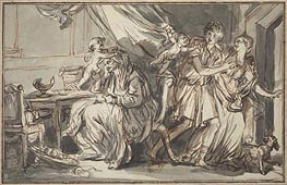 Jean-Baptiste Greuze | Lovers Profiting from the Drowsiness of the Grandmother | Giclée Canvas Print