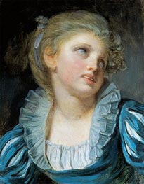 Jean-Baptiste Greuze | Girl in a Blue Dress, c.1804 | Giclée Canvas Print