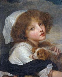 Jean-Baptiste Greuze | Young Girl with a Spaniel, undated | Giclée Canvas Print