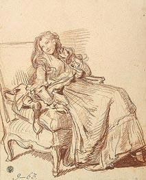Jean-Baptiste Greuze | Young Woman in an Artchair, c.1765 | Giclée Paper Print