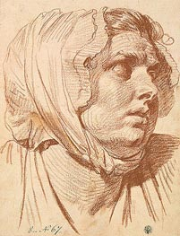 Jean-Baptiste Greuze | Head of a Woman in a Night Cap, 1772 | Giclée Paper Print