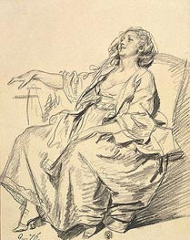 Jean-Baptiste Greuze | Young Woman Seated in an Armchair, 1765 | Giclée Paper Print