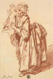 Jean-Baptiste Greuze | Study of a Standing Girl, 1765 | Giclée Paper Print