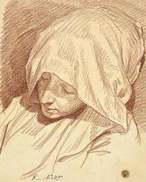 Jean-Baptiste Greuze | Head of a Woman in a Hood | Giclée Paper Print