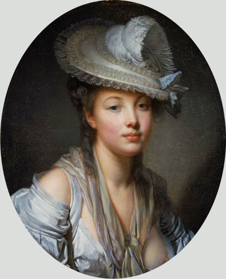 Young Woman in a White Hat, c.1780   Jean-Baptiste Greuze   Painting Reproduction