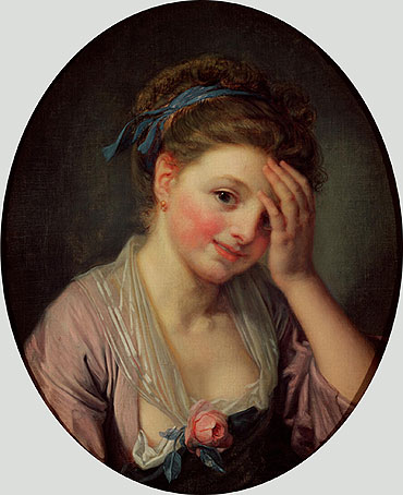 Young Girl with a Rose, undated | Jean-Baptiste Greuze | Painting Reproduction