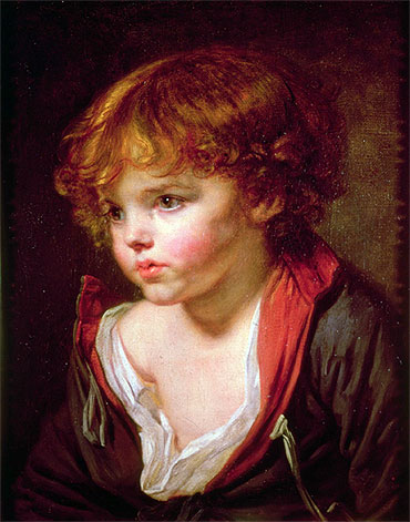 A Blond Haired Boy with an Open Shirt, undated | Jean-Baptiste Greuze | Painting Reproduction