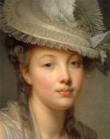 Young Woman in a White Hat (Detail), c.1780 | Jean-Baptiste Greuze | Painting Reproduction