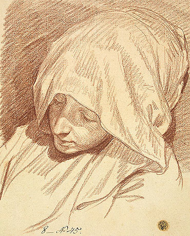 Head of a Woman in a Hood, c.1760/70 | Jean-Baptiste Greuze | Painting Reproduction