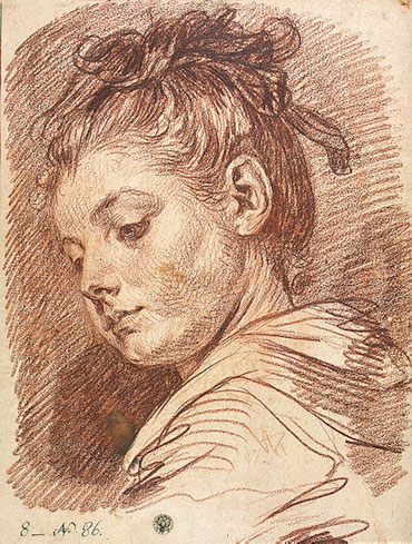 Head of a Young Woman, b.1769 | Jean-Baptiste Greuze | Painting Reproduction