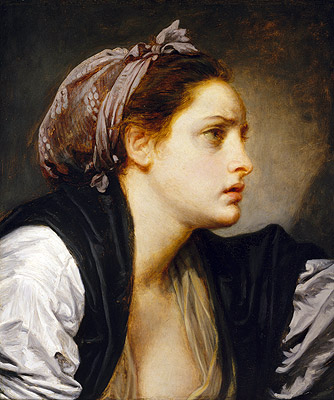 Study Head of a Woman, undated | Jean-Baptiste Greuze | Painting Reproduction