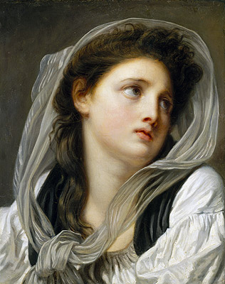 Head of a Young Woman (Contemplation), c.1775 | Jean-Baptiste Greuze | Painting Reproduction