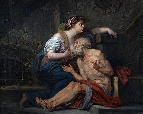 Cimon and Pero (Roman Charity), c.1767 | Jean-Baptiste Greuze | Painting Reproduction