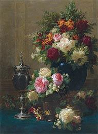 Jean-Baptiste Robie | Still Life of Flowers with a Coconut Chalice on a Table, 1873 | Giclée Canvas Print