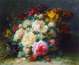 Jean-Baptiste Robie | A Bouquet of Cabbage Roses, undated | Giclée Canvas Print