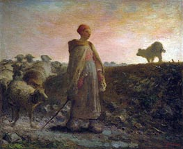 Millet | Shepherdess Returning with her Flock | Giclée Canvas Print