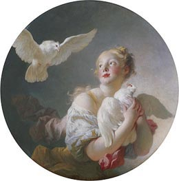 Girl Holding a Dove, undated by Fragonard | Giclée Canvas Print
