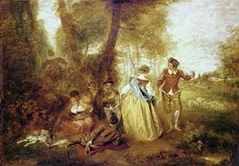 Pastoral Pleasures, c.1716 by Watteau | Giclée Canvas Print