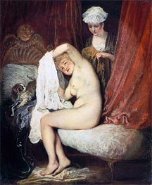 A Lady at her Toilet, c.1716/17 by Watteau | Giclée Canvas Print